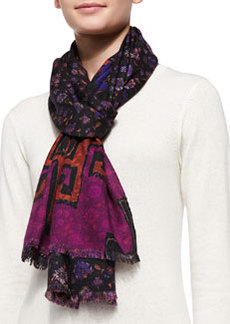 Floral Print Scarf, Black/Purple/Multi   Floral Print Scarf, Black/Purple/Multi