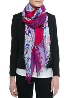 Floral-Print Scarf with Fringe, Blue/Pink   Floral-Print Scarf with Fringe, Blue/Pink