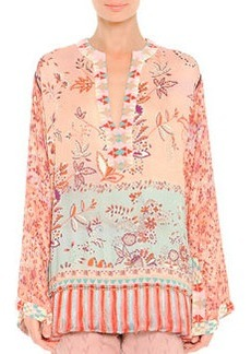 Fringe-Hem Mixed-Print Tunic   Fringe-Hem Mixed-Print Tunic