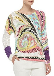 Hand-Painted Paisley Fisherman Sweater   Hand-Painted Paisley Fisherman Sweater