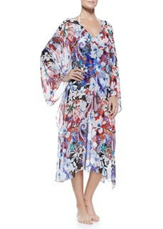 Hawaiian Floral-Print Caftan with Tie   Hawaiian Floral-Print Caftan with Tie