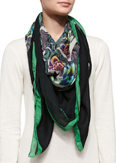 Kaleidoscope Floral Wrap, Green/Black   Kaleidoscope Floral Wrap, Green/Black