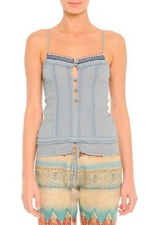Lace-Trim Beaded Camisole, Blue   Lace-Trim Beaded Camisole, Blue