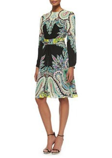 Long-Sleeve Paisley Belted Dress   Long-Sleeve Paisley Belted Dress