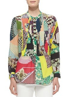 Long-Sleeve Patch-Print Blouse W/ Peplum   Long-Sleeve Patch-Print Blouse W/ Peplum