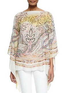 Mix-Print Silk Poncho   Mix-Print Silk Poncho