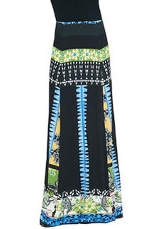 Mixed Floral-Print Jersey Maxi Skirt, Black/Blue   Mixed Floral-Print Jersey Maxi Skirt, Black/Blue