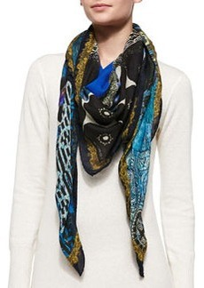 Mixed-Print Wrap with Border, Blue   Mixed-Print Wrap with Border, Blue