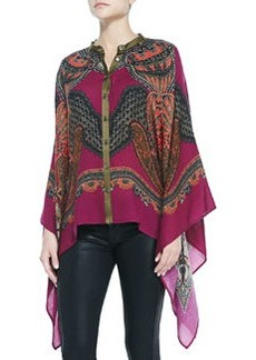 Paisley Chiffon Poncho with Button Front   Paisley Chiffon Poncho with Button Front