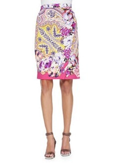 Paisley Faux-Wrap Pencil Skirt   Paisley Faux-Wrap Pencil Skirt