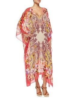 Paisley Floral Silk Caftan, Pink   Paisley Floral Silk Caftan, Pink