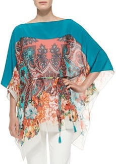 Paisley Poncho Top W/ Self-Tie Belt   Paisley Poncho Top W/ Self-Tie Belt