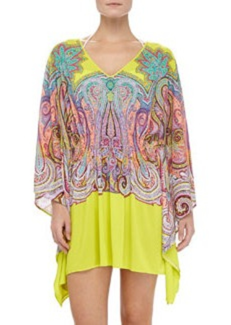 Paisley-Print Jersey Coverup   Paisley-Print Jersey Coverup