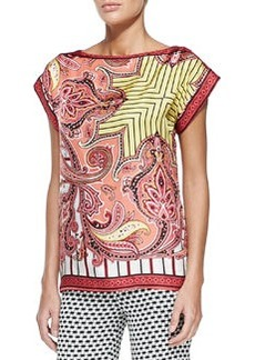 Paisley Striped Foulard T-Shirt, Pink   Paisley Striped Foulard T-Shirt, Pink