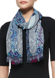 Paisley/Stripe Scarf, Blue/Purple   Paisley/Stripe Scarf, Blue/Purple
