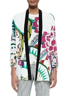 Petal-Print Stretch-Silk Cardigan   Petal-Print Stretch-Silk Cardigan