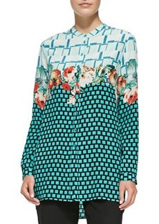 Plaid, Floral & Grid-Print Silk Blouse   Plaid, Floral & Grid-Print Silk Blouse
