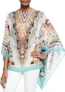 Printed Silk Poncho   Printed Silk Poncho