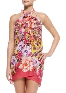 Rose/Paisley-Print Pareo Coverup   Rose/Paisley-Print Pareo Coverup