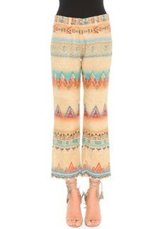 Santa Fe Printed Linen-Blend Cropped Pants   Santa Fe Printed Linen-Blend Cropped Pants