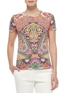 Short-Sleeve Placed Paisley Tee, Coral   Short-Sleeve Placed Paisley Tee, Coral
