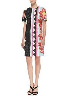 Short-Sleeve Zigzag Floral Shift Dress   Short-Sleeve Zigzag Floral Shift Dress