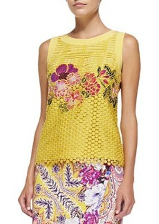 Sleeveless Embroidered Lace Top   Sleeveless Embroidered Lace Top