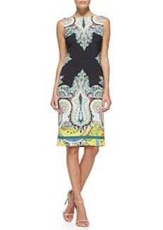 Sleeveless Fern & Paisley-Print Sheath Dress   Sleeveless Fern & Paisley-Print Sheath Dress