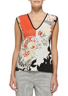 Sleeveless Floral Colorblock Top   Sleeveless Floral Colorblock Top