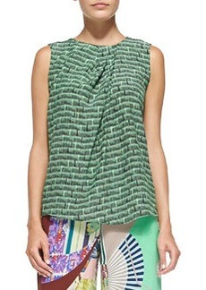 Sleeveless Ink-Print Top W/ Pleated Neck   Sleeveless Ink-Print Top W/ Pleated Neck
