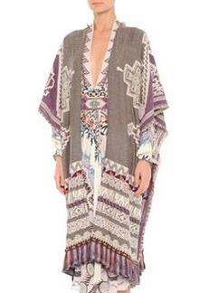 Tassel-Hem Tapestry Poncho Cape   Tassel-Hem Tapestry Poncho Cape