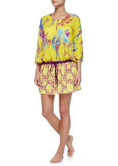 Tropical-Print Tunic W/ Drawstring   Tropical-Print Tunic W/ Drawstring