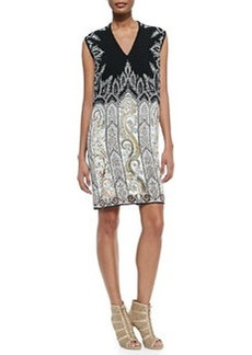 V-Neck Petal/Paisley Combo Dress   V-Neck Petal/Paisley Combo Dress