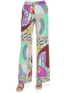 Wide-Leg Silk Patch-Print Pants   Wide-Leg Silk Patch-Print Pants