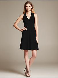 Ponte Cross-Back Fit-and-Flare Dress