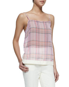 J Brand Ready to Wear Translucent Plaid Spaghetti Strap Tank