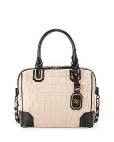 Olivia Croc-Embossed Bag, Peach   Olivia Croc-Embossed Bag, Peach