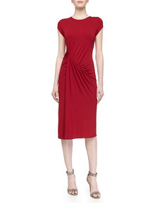 Michael Kors Cap-Sleeve Asymmetric Ruched Dress, Rose