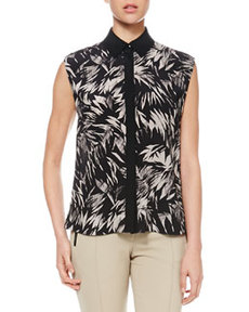 Botanical Cutaway-Back Blouse   Botanical Cutaway-Back Blouse