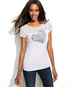 INC International Concepts Illusion-Sleeve Sequin-Heart Tee