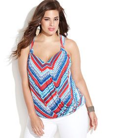 INC International Concepts Plus Size Sleeveless Printed Faux-Wrap Top