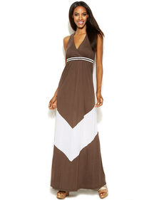 INC International Concepts Petite Sleeveless Bead-Embellished Maxi Dress