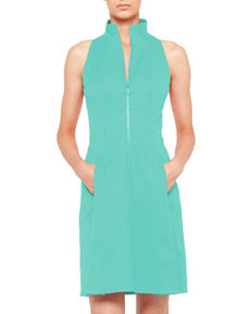 Akris punto Zip-Front Pool Dress with Mock Neckline