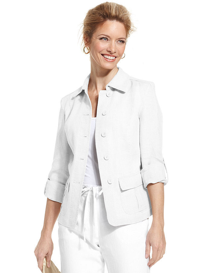 Charter Club Petite Linen Button-Front Jacket