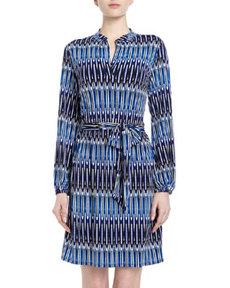Laundry by Shelli Segal Elongated Oval-Print Sheath Dress, Blue Beret