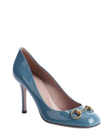 Gucci ocean blue patent leather 'Jolene' horsebit pumps