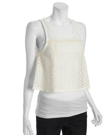 Free People ivory lace cutout tank