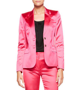 Escada Two-Button Satin Blazer, Blossom