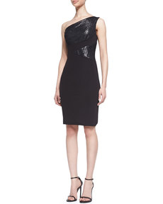 David Meister Metallic-Inset One-Shoulder Dress