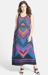 Calvin Klein Mitered Stripe Matte Jersey Maxi Dress (Plus Size)